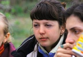 Ученица Школы йоги в Чернигове на занятии семинара.